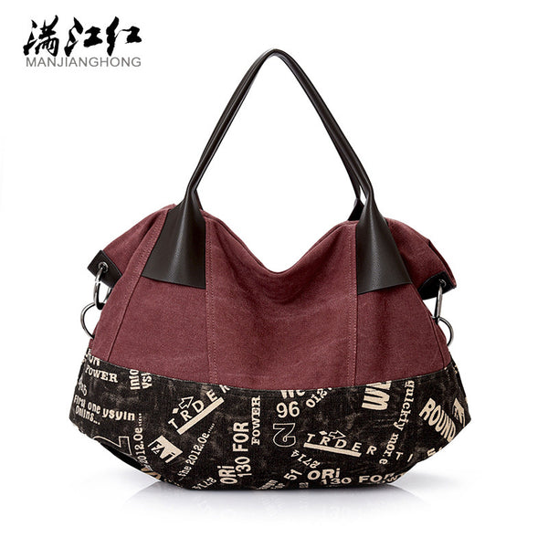 Big Washed Cotton Canvas Shoulder Bag - Red Deer Store