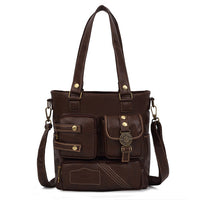 Multi-Pocket Leather Tote - Red Deer Store
