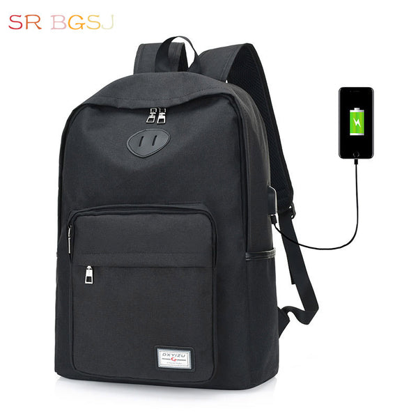 Causal Nylon School Style Backpack with USB Charge Feature - Red Deer Store