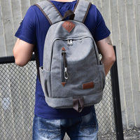Men's Canvas Rucksack School/Travel Backpack with Large Capacity - Red Deer Store