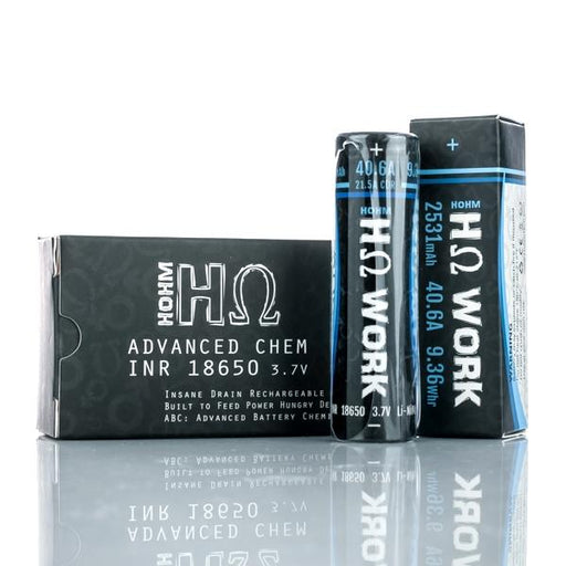 HOHM Work - 18650 2531mAh Flat Top Battery - 2 Pack vape shop pros wholesale