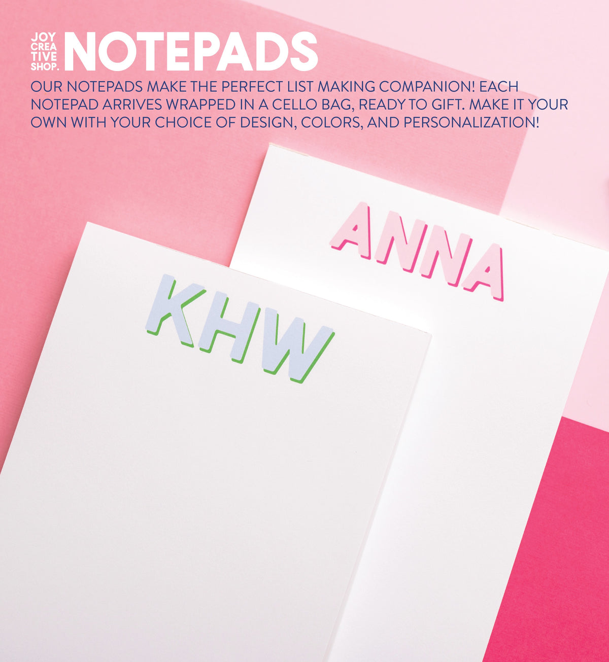 Color Block Pinks/Blues/Greens Notepad