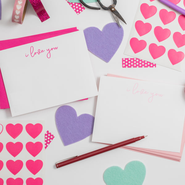 I love you hand lettered notecards