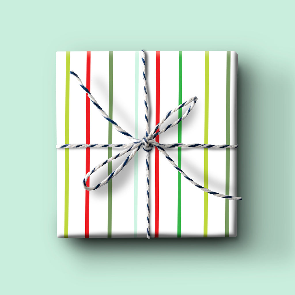 Holiday Thin Stripe Gift Wrap,  Christmas gift wrap, everyday wrapping paper, birthday gift wrap, seasonal gift wrap, holiday wrapping paper
