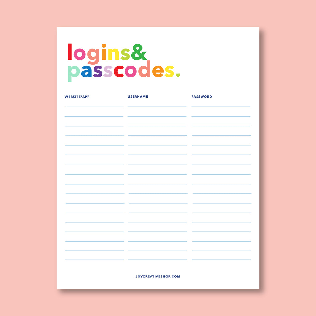 Login & Passwords (FREE) Printable - Joy Creative Shop