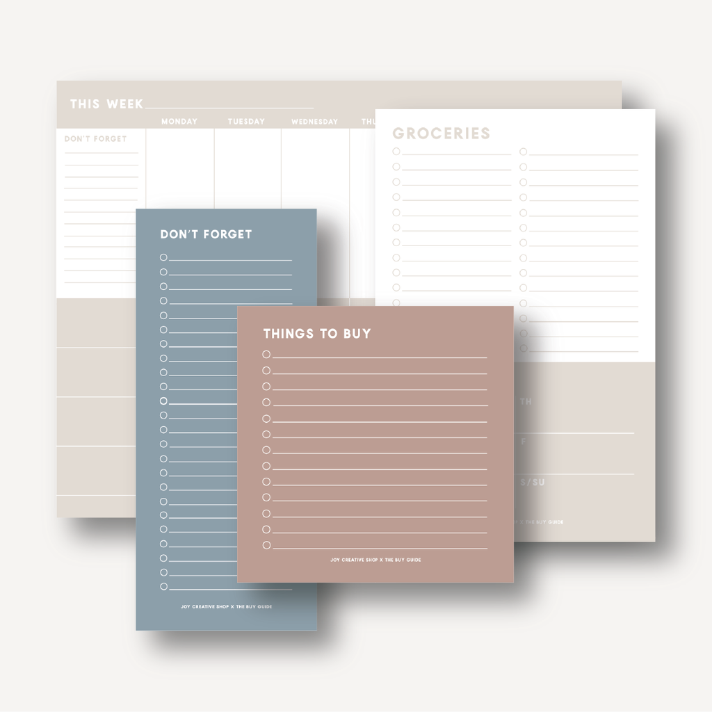 The Buy Guide Collab : Meal Planner / Grocery List Notepad