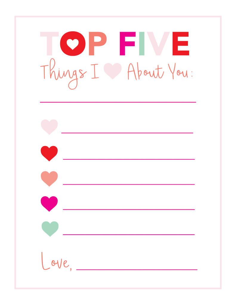 Top 5 Valentine Printable - Joy Creative Shop
