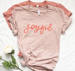 Hand Lettered Joyful T-Shirts Poppy - Joy Creative Shop