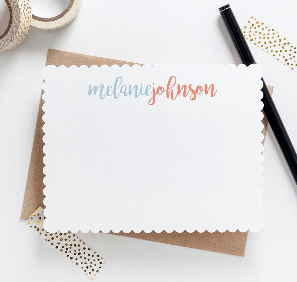 Script Scallop Personalized Stationery031NC - Joy Creative Shop