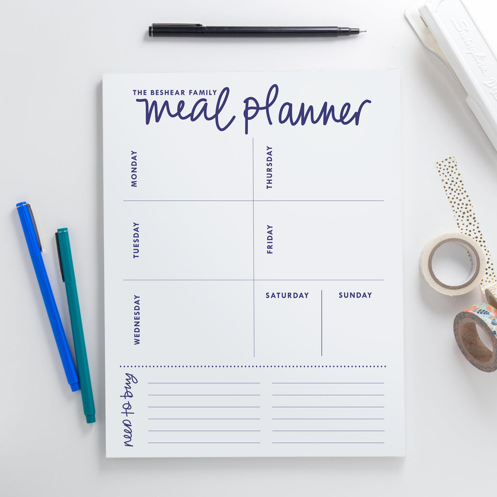 Hand Lettered Family Meal Planner Notepad-Large,Customized Stationery Gift,Personalized Notebook,Handwritten Notepad,Custom Stationery 005NP - Joy Creative Shop