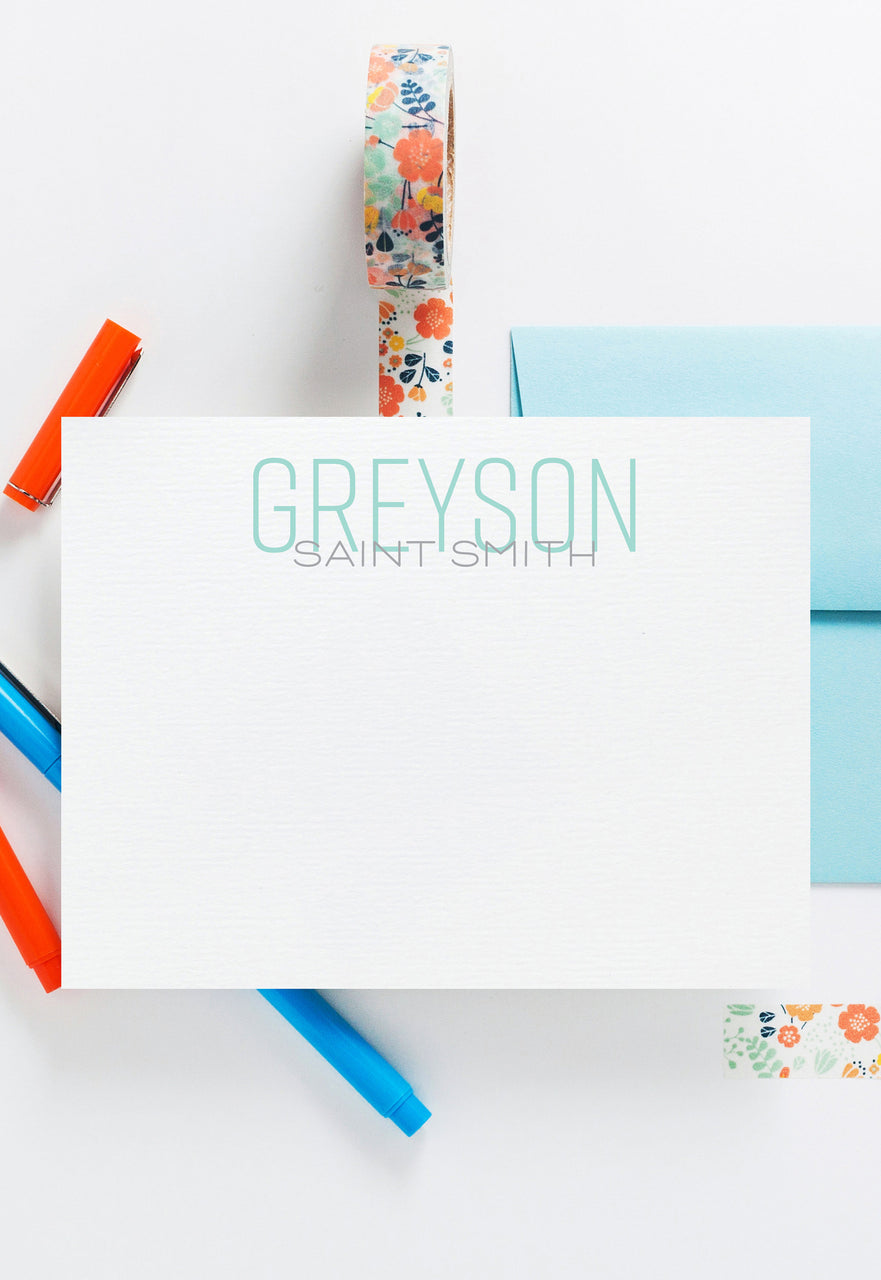 Thin line block personalized stationery-Baby Stationery,custom stationery,little boy Note Cards,Personalized Stationery Note Card Set 014NC - Joy Creative Shop