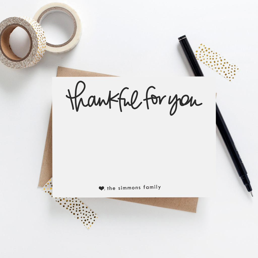 Thankful note card set - Hand written Note Cards, Gratitude, Thank you notes, Personalized Stationery Note Card Set, Family Stationery 024NC - Joy Creative Shop