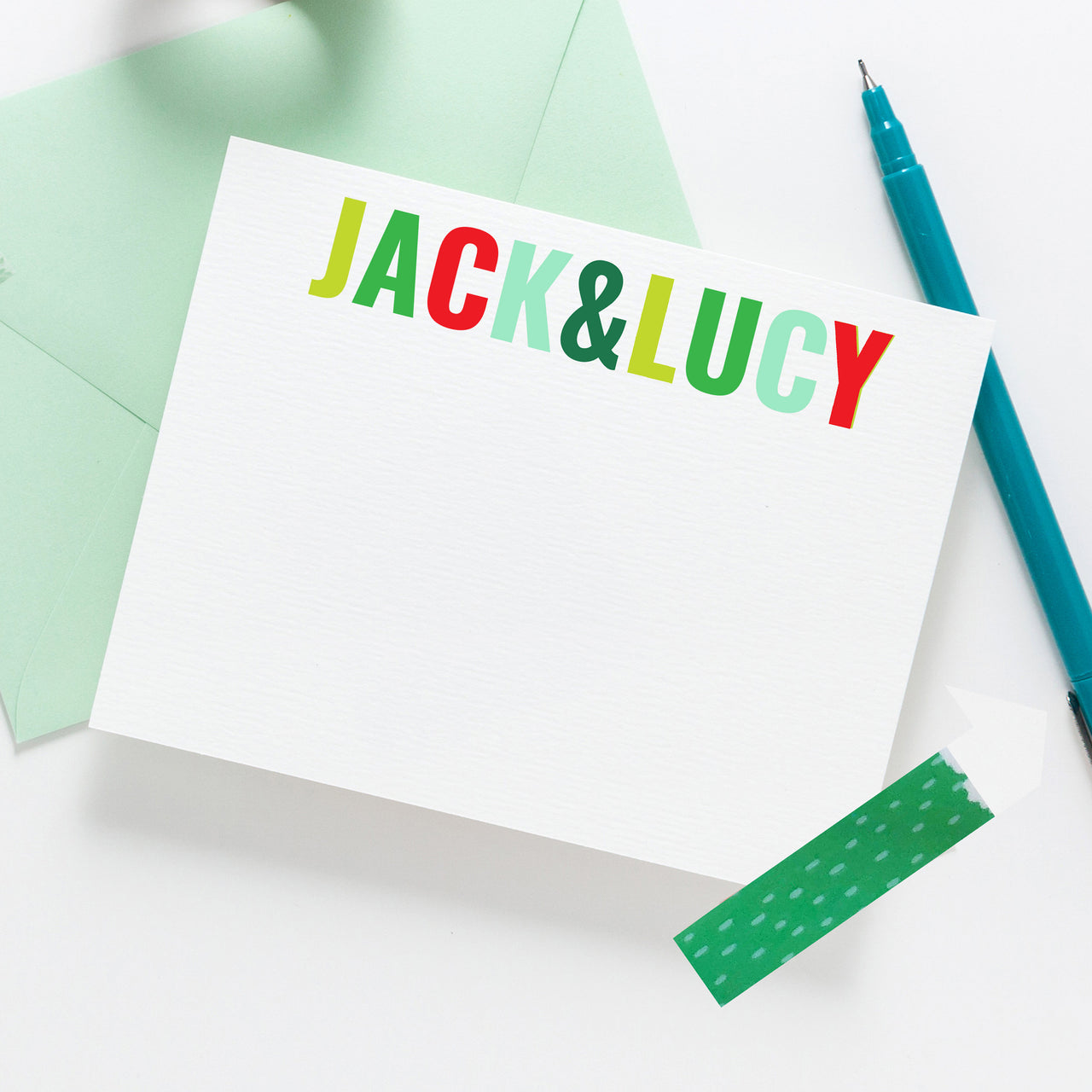 Sibling Holiday Stationery - Personalized Stationery, child custom stationery, Christmas thank you notes, Holiday Gift, Kids Present 004HNC - Joy Creative Shop