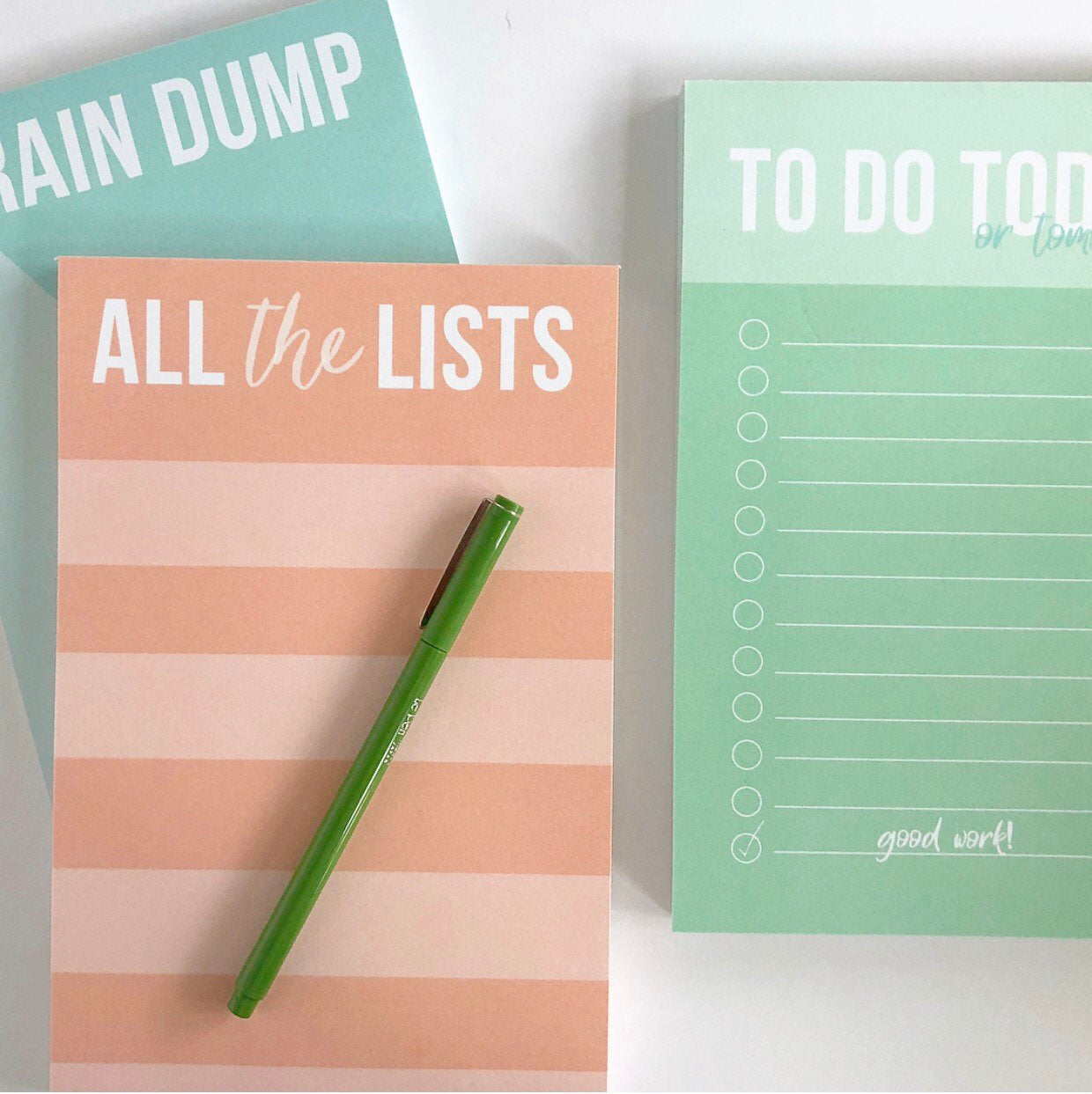 Set of notepads, All the lists, To do (today) & Brain Dump, Notepads, Desk Accessory - Joy Creative Shop