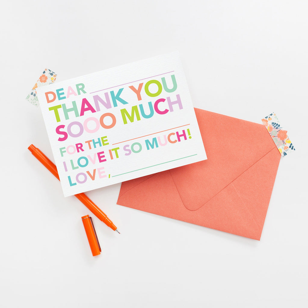 Kids Fill in Thank You Notes, Girl Thank You Stationery, Personalized Stationery Note Card, Fill in Note Card, hostess gift - Joy Creative Shop