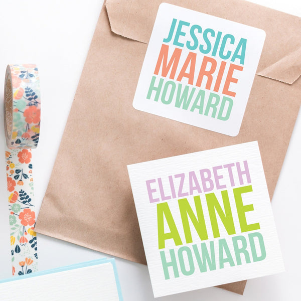 Custom Stickers, Personalized Enclosure Cards, Gift Tags, Stickers, Square Stickers, Personalized Stickers, Custom Labels, Name Stickers - Joy Creative Shop
