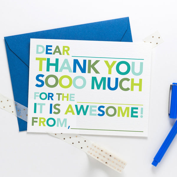 Kids Fill in Thank You Notes - Blue - Joy Creative Shop