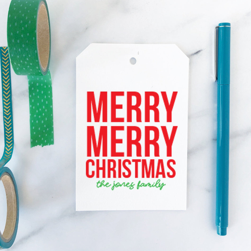Merry merry Christmas XL Tag - Joy Creative Shop