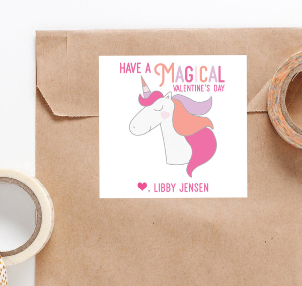 Unicorn Valentine, Valentine's sticker, Valentine Tags, Square Stickers, Personalized Stickers, Custom Stickers, Name Stickers, - Joy Creative Shop