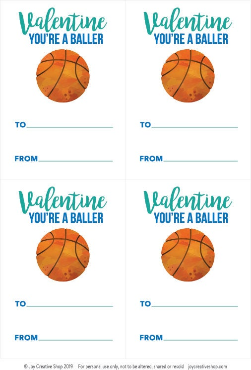 Valentine Basketball Printable, To from valentine, kids valentine, happy valentines day, classroom valentine - Joy Creative Shop