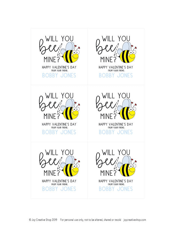 Printable Customized Valentine Gift Tag , Bee Mine Valentine's Day Customized Tag, kids valentine, valentines day, classroom valentine