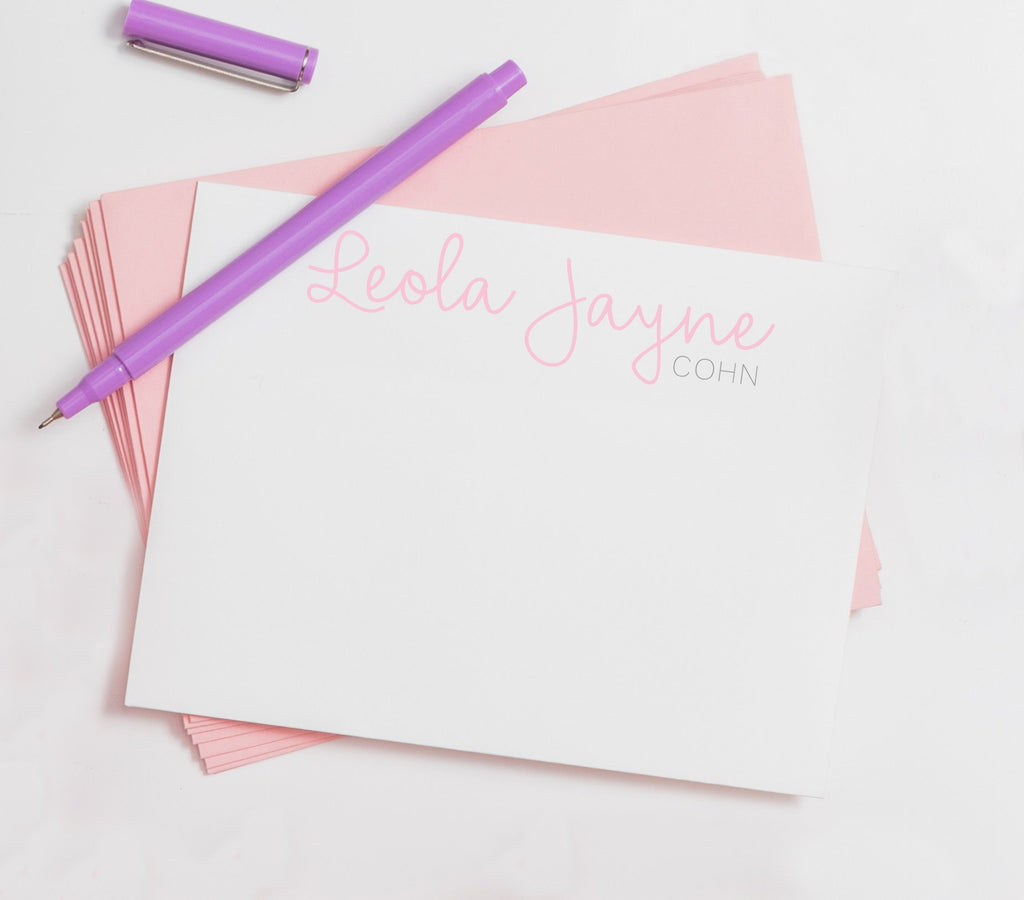Script Personalized Note-Baby Stationery, child custom stationery, little girl Note Cards, Personalized Stationery Note Card Set,Kraft 001NC - Joy Creative Shop