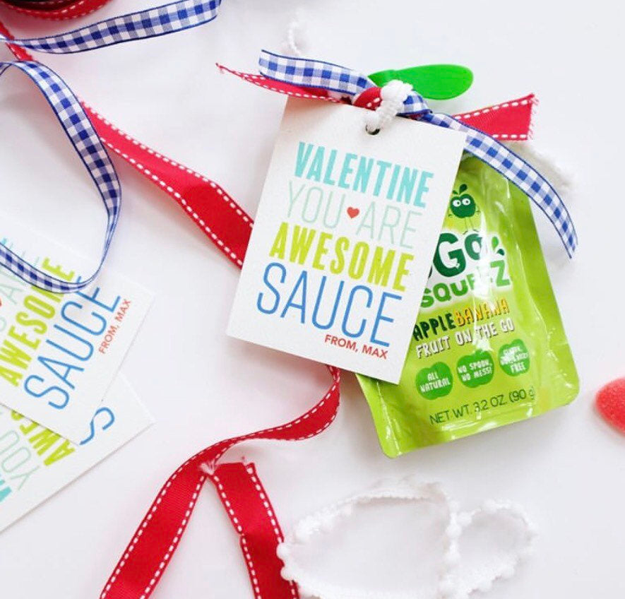 You are Awesome Sauce Valentine Blue,Valentine's tag,Square Stickers,Personalized Stickers,Custom Stickers,Name Stickers,holidaystickers