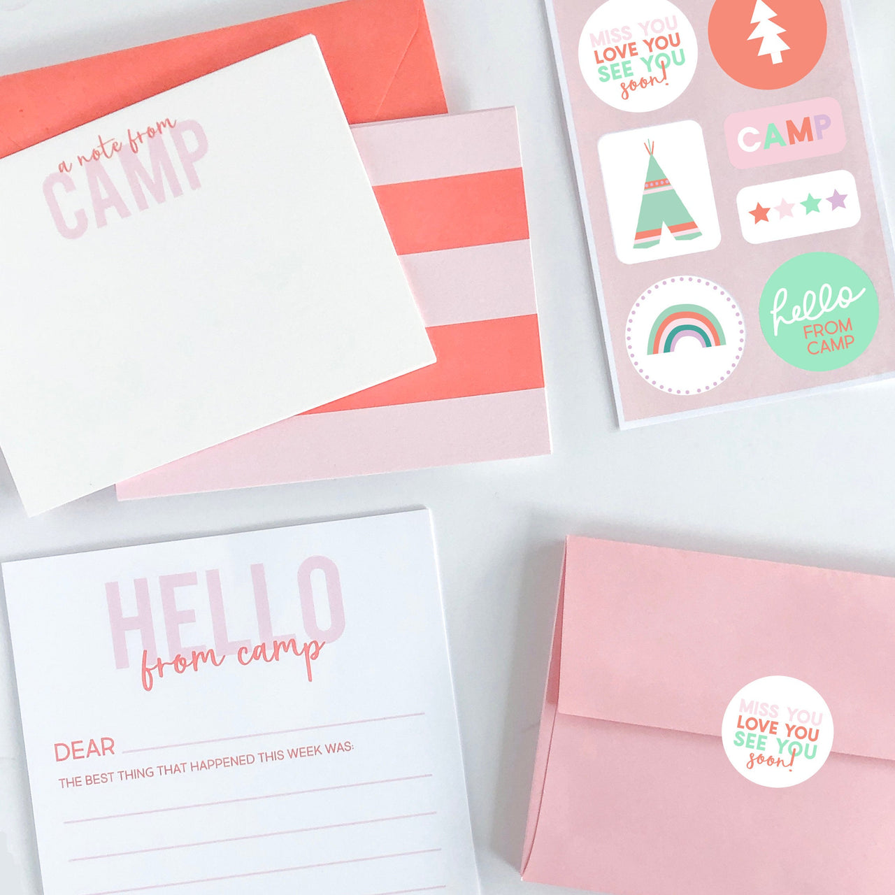 Summer Camp Stationery Set - Pink, Camp, Summer, Camp Fill In, Kids Stationery, Camp Sets, Summer camp notecards, Camp gifts - Joy Creative Shop