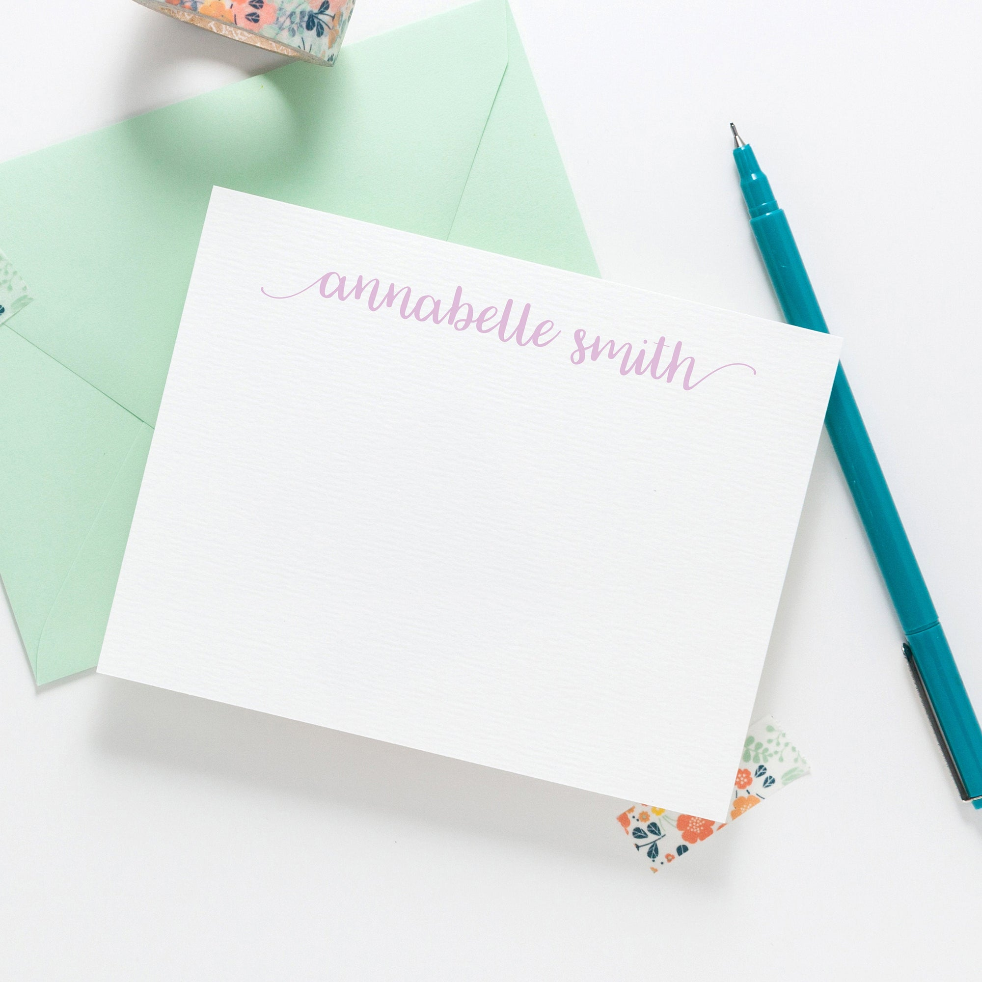 Whimsical calligraphy script stationery 027NC - Joy Creative Shop