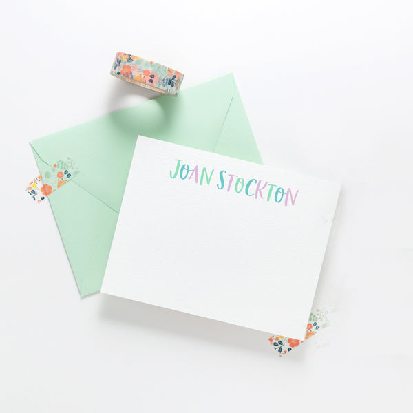 Whimsical personalized stationery, thank you notes, custom stationery, personalized stationery, flat notecards - Joy Creative Shop