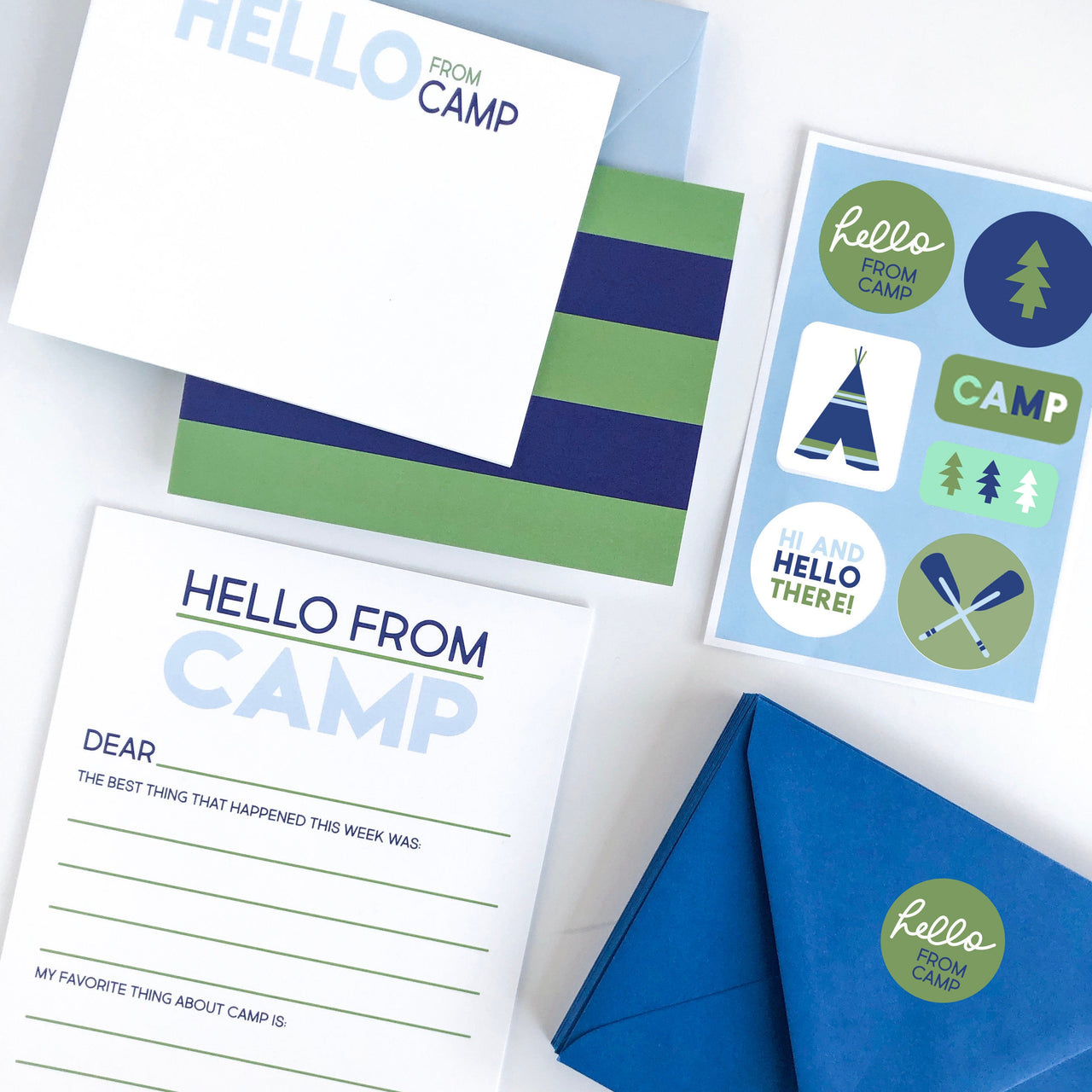 Summer Camp Stationery Set - Blue, Camp, Summer, Camp Fill In, Kids Stationery, Camp Sets, Summer camp notecards, Camp gifts - Joy Creative Shop
