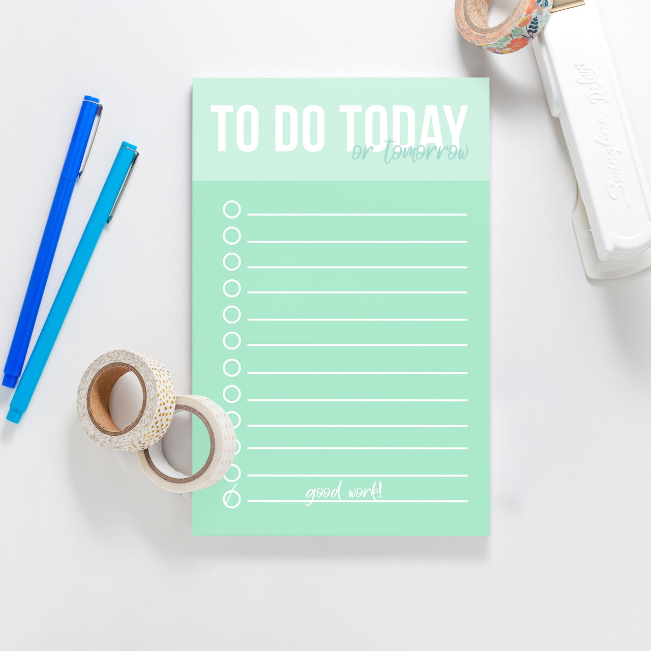 To Do Today Notepad, Color block notepad, Listing notepad, Custom Notepad, Mint green notepad - Joy Creative Shop