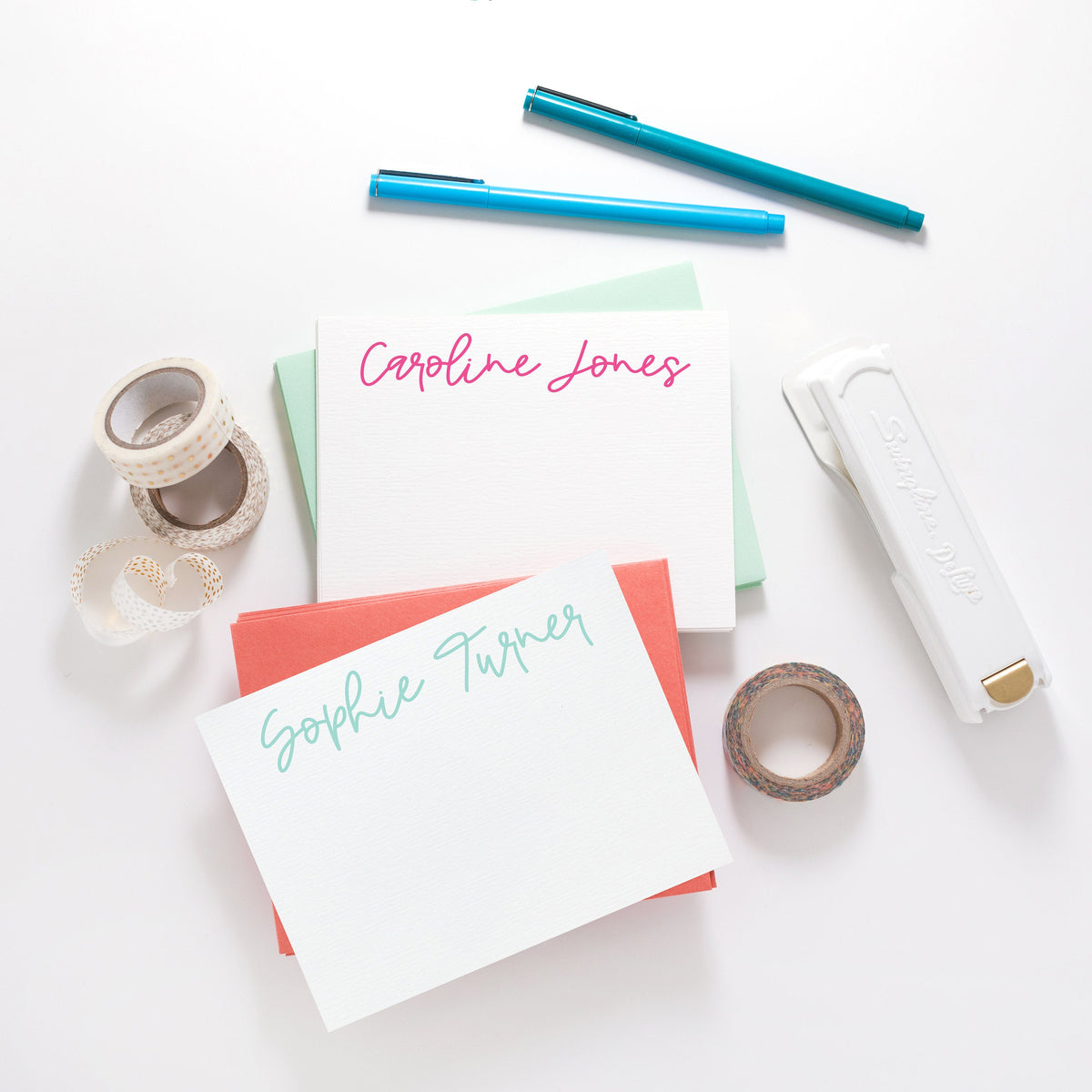 Handwritten Name Stationery, Personalized Stationery, Custom Note Cards, Handwritten Note Card, Script 064NC Stationery - Joy Creative Shop