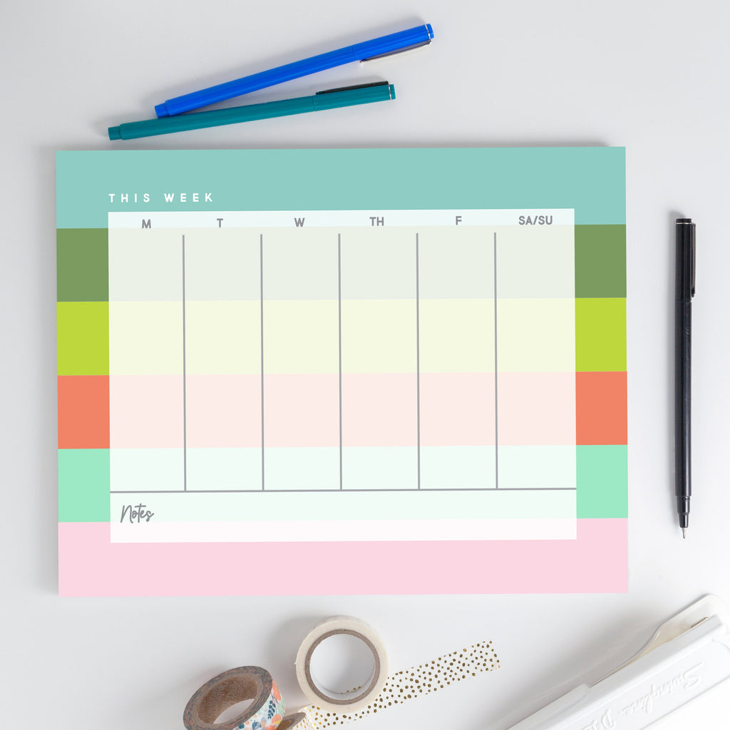 Weekly Notepad 2, Weeklong calendar, Desk calendar, Large desk calendar - Joy Creative Shop