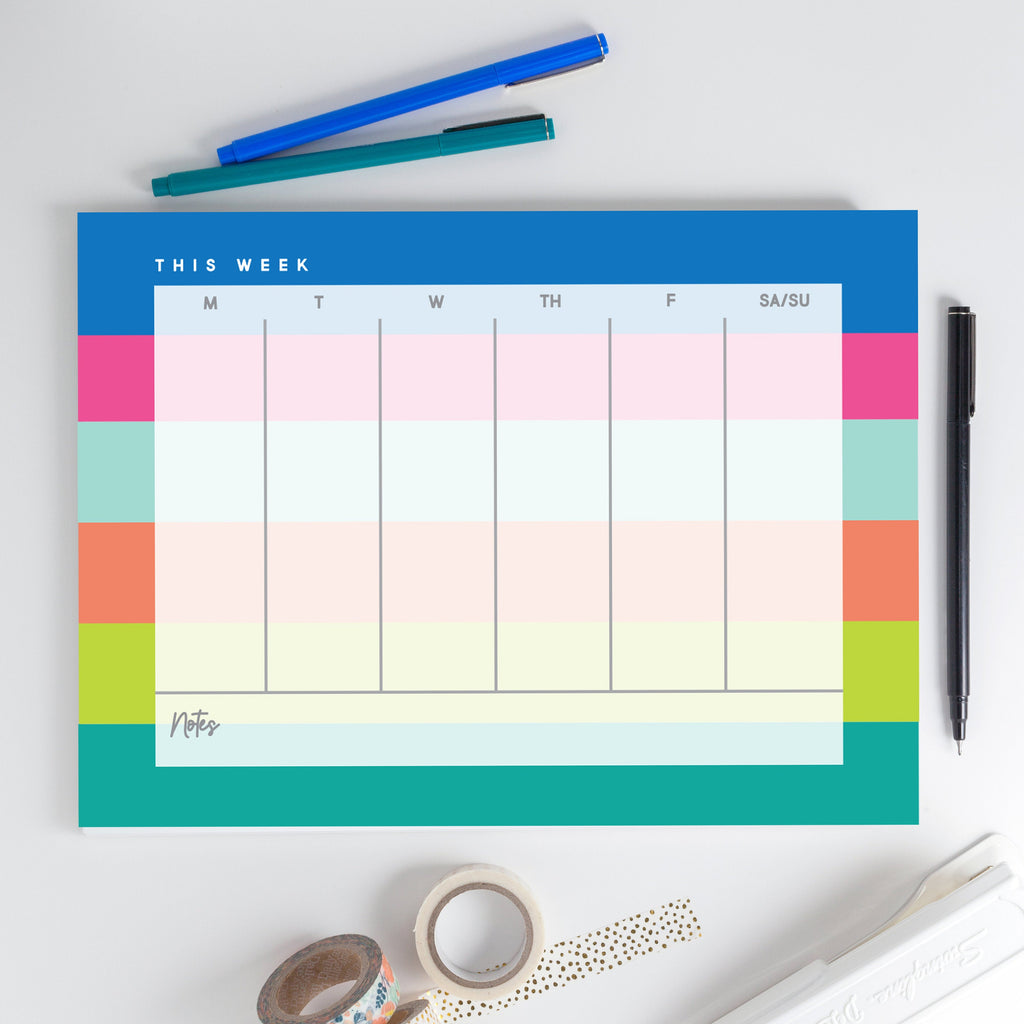 Weekly Notepad 1, Weeklong calendar, Desk calendar, Large desk calendar - Joy Creative Shop