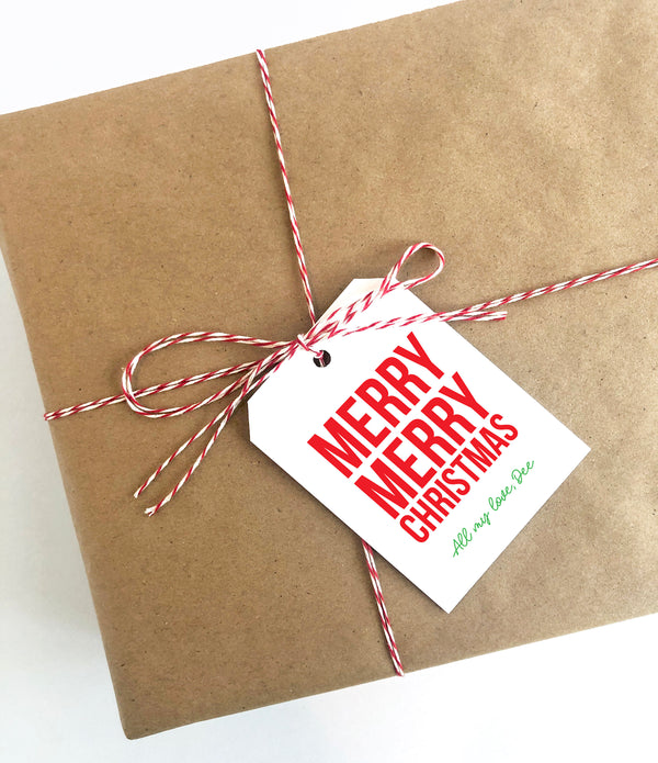 Merry merry XL Tag, Merry Christmas, XL Gift Tag, Holiday Gift, Christmas gift, custom tag, Christmas Tag, Holiday Packaging, Gift Tag 002HT - Joy Creative Shop