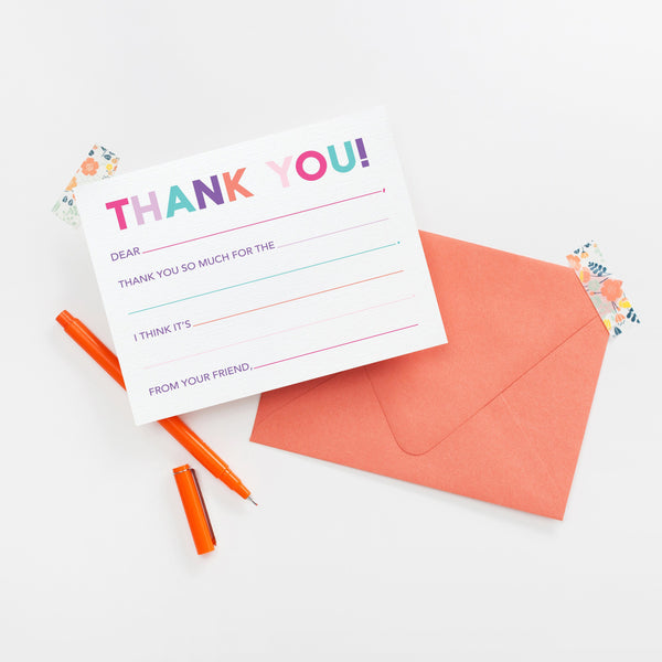 PRINTABLE Thank You Fill In - Pink Colorway Thank You Note Cards, Printable Stationery, Fill In Stationery, Kid Thank You Notes