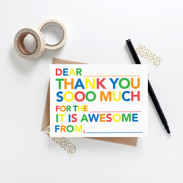 Kids Fill in Thank You Notes - Primary - Joy Creative Shop