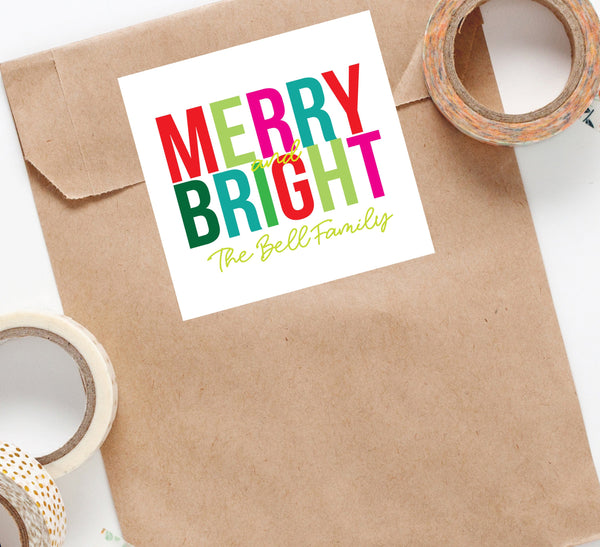 Merry & Bright Sticker, Christmas sticker, Square Stickers, Personalized Stickers, Custom Stickers, Name Stickers, holiday stickers 006HS - Joy Creative Shop