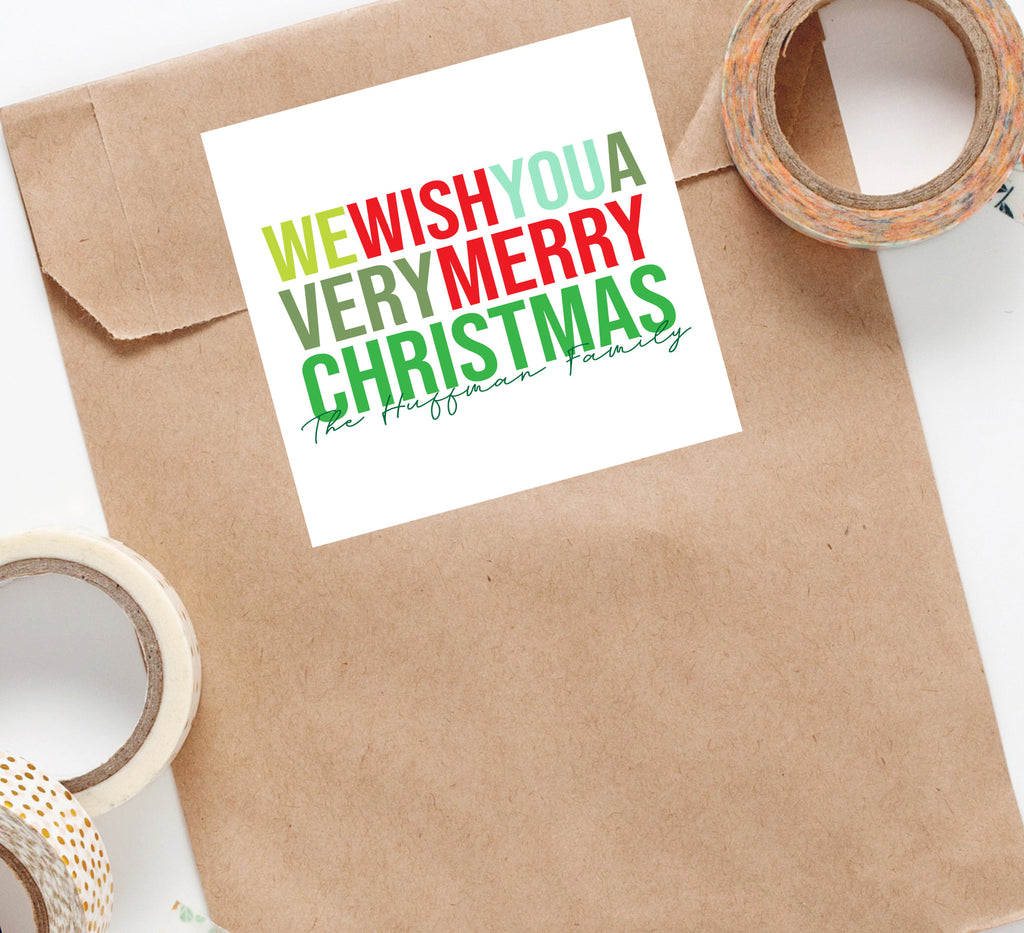 We Wish You A Merry Christmas Sticker,Personalized Christmas Sticker,Christmas Sticker Gift Tag,Holiday Packaging,Family Gift, 007HS