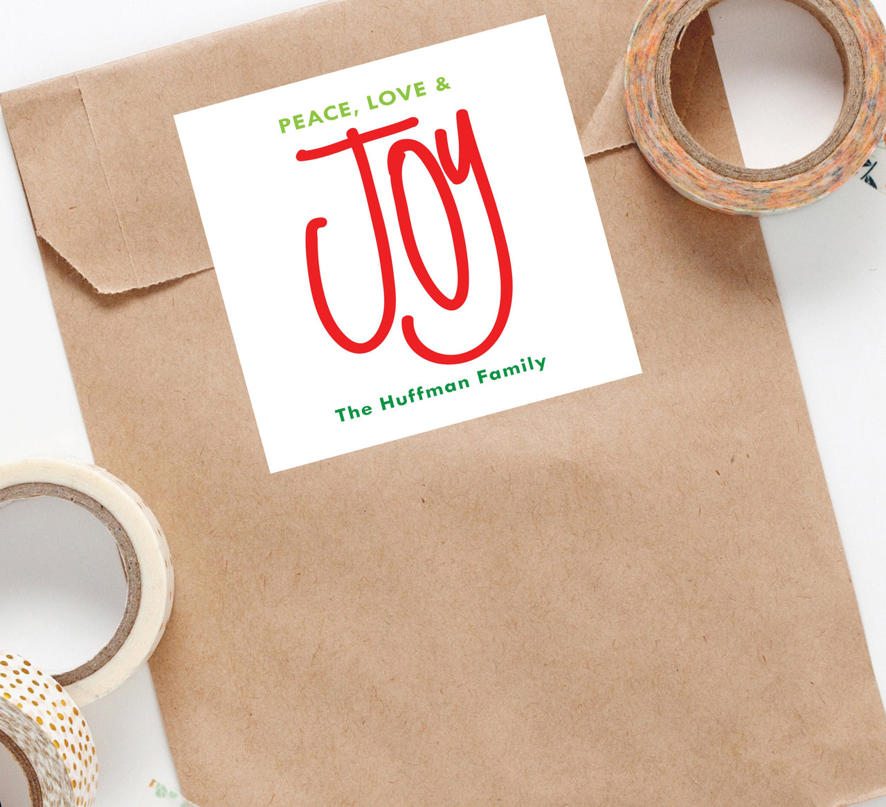 Holiday Joy Sticker,Custom Holiday Sticker,Personalized Christmas Sticker,Peace Love Joy Sticker,Gift Tag,Holiday Packaging,Christmas 012HS - Joy Creative Shop