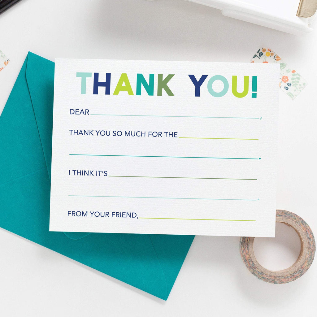 PRINTABLE Thank You Fill In - Blue Colorway Thank You Note Cards, Printable Stationery, Fill In Stationery, Kid Thank You Notes - Joy Creative Shop