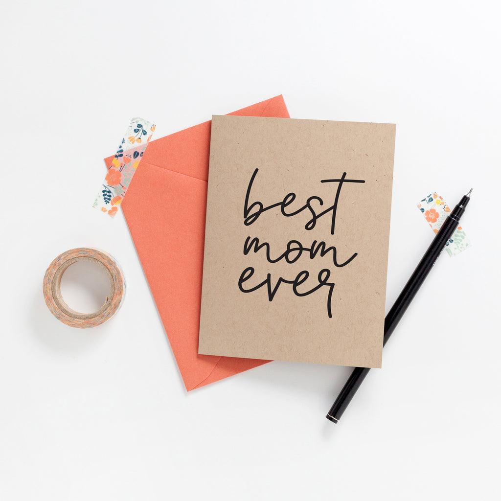 Best Mom Ever Greeting Card on Kraft, Greeting Card, Hand Lettered Card, Mother's Day Card, Mom Gift - Joy Creative Shop