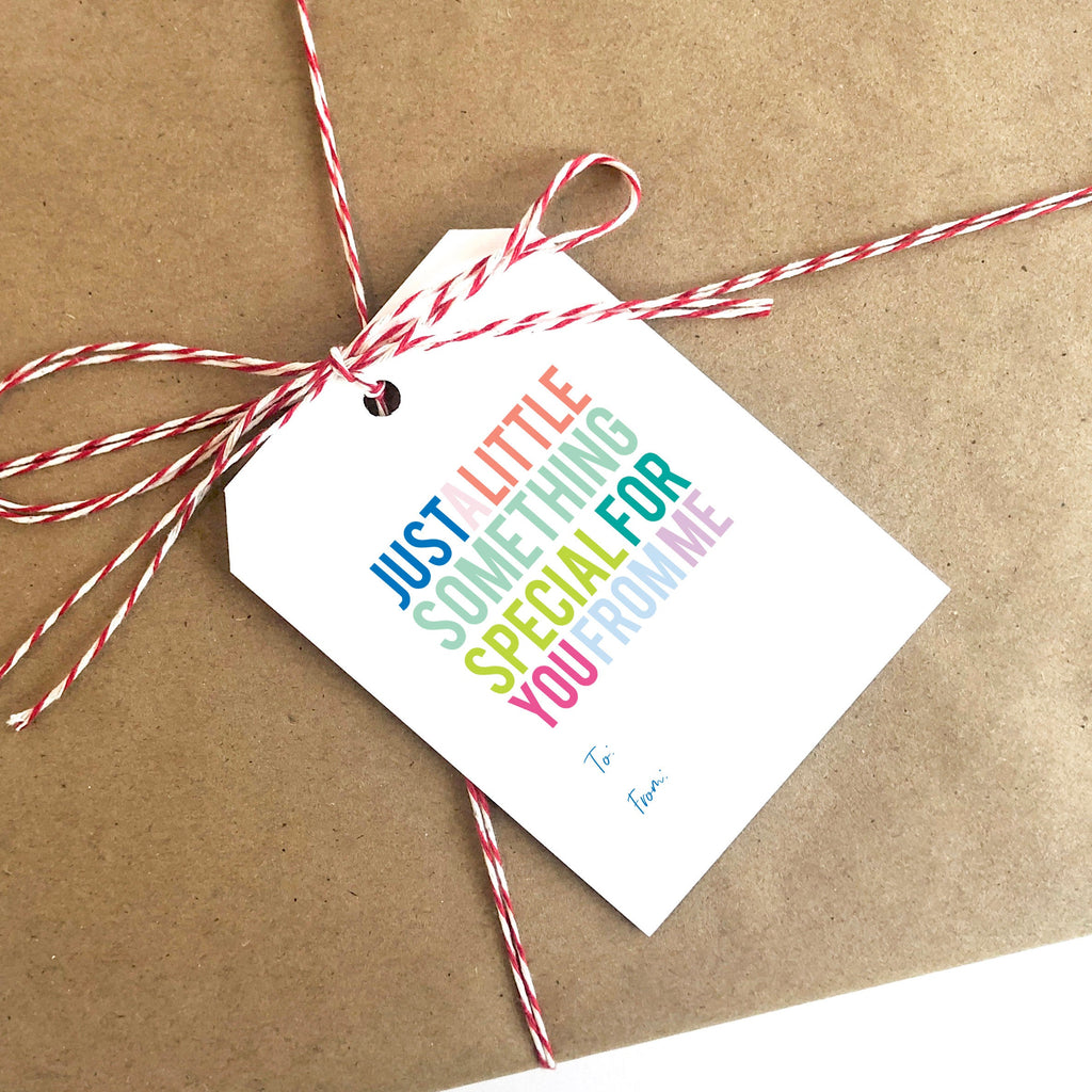 Just A Little Something Special For You From Me TO FROM Tag, Gift Tag, To From Tag, Colorful, Birthday Gift, Large Tag, Striped Back 001ET - Joy Creative Shop