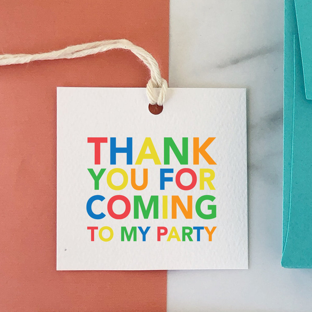 Thank You For Coming To My Party Primary Tag, Party Favor Gift Tag, Birthday Tag, Colorful, Birthday Favor, Square Tag, Striped Back 003ETS -