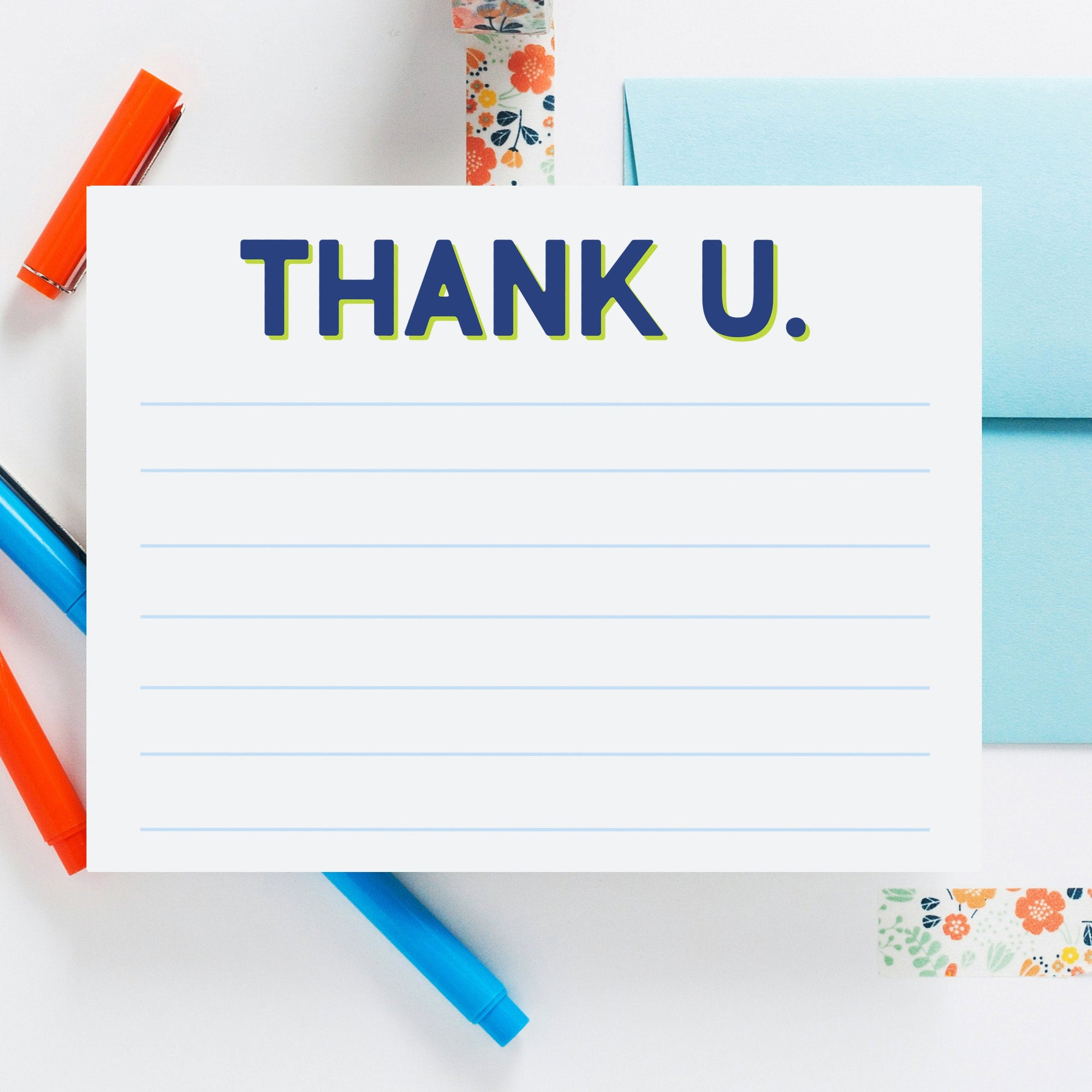 Thank U. Lined Blue Notecard, Kids Thank You Note, Colorful Notecard, Thank You Notes, Stationery, Gratitude Note Card 04ENC - Joy Creative Shop