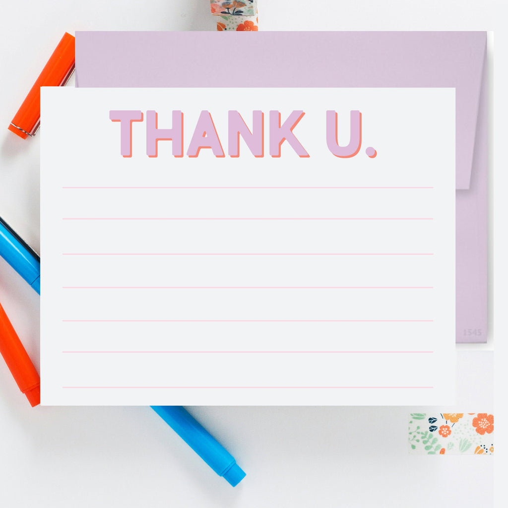 Thank U. Lined Lavender Notecard, Kids Thank You Note, Lined Notecard, Thank You Notes, Stationery, Colorful Thank You Card 05ENC - Joy Creative Shop