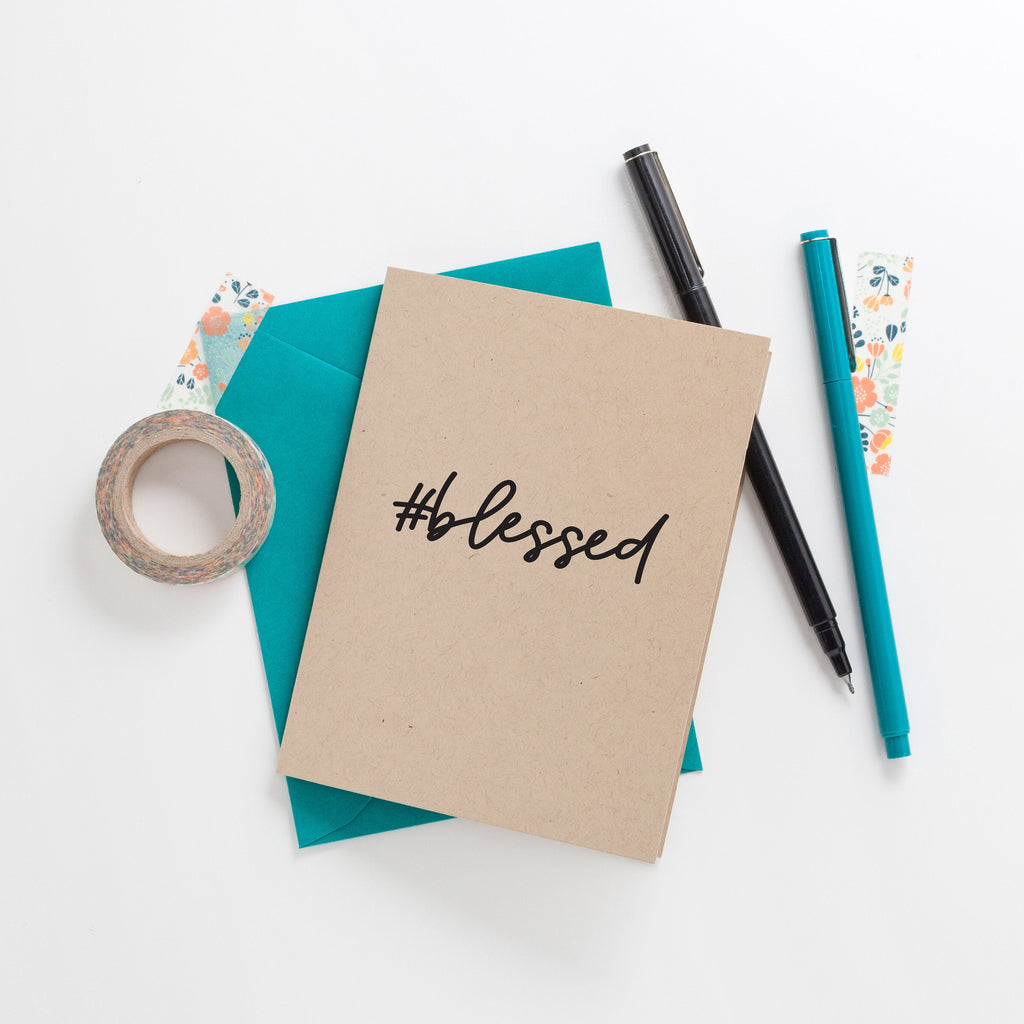 Hashtag Blessed Greeting Card on Kraft, Greeting Card, Hand Lettered Card, Blessed Gift, Thank You Card - Joy Creative Shop