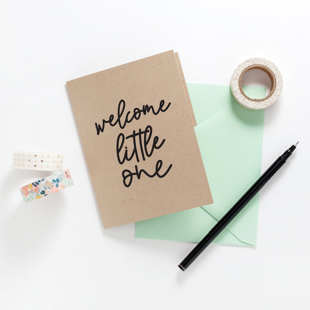 Welcome Little One Greeting Card on Kraft, Greeting Card, Hand Lettered Card, Baby Card, Shower Gift - Joy Creative Shop