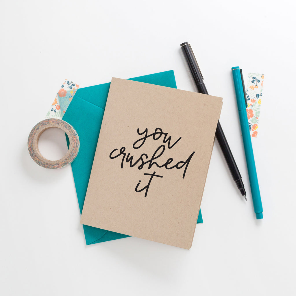 You Crushed It Greeting Card on Kraft, Greeting Card, Hand Lettered Card, Friend Card, Encouragement Card, Love Card, Congratulations Card - Joy Creative Shop